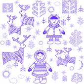 Winter wallpaper with Eskimo — Stock Vector