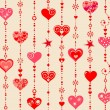 Wallpaper with funny hanging hearts — Stock Vector #59177151