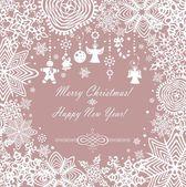 Pastel xmas card with paper snowflakes — Stock vektor
