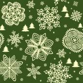 Seamless green background with golden winter print — Stock Vector