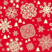 Winter red wallpaper with paper snowflakes and firs — Stock Vector