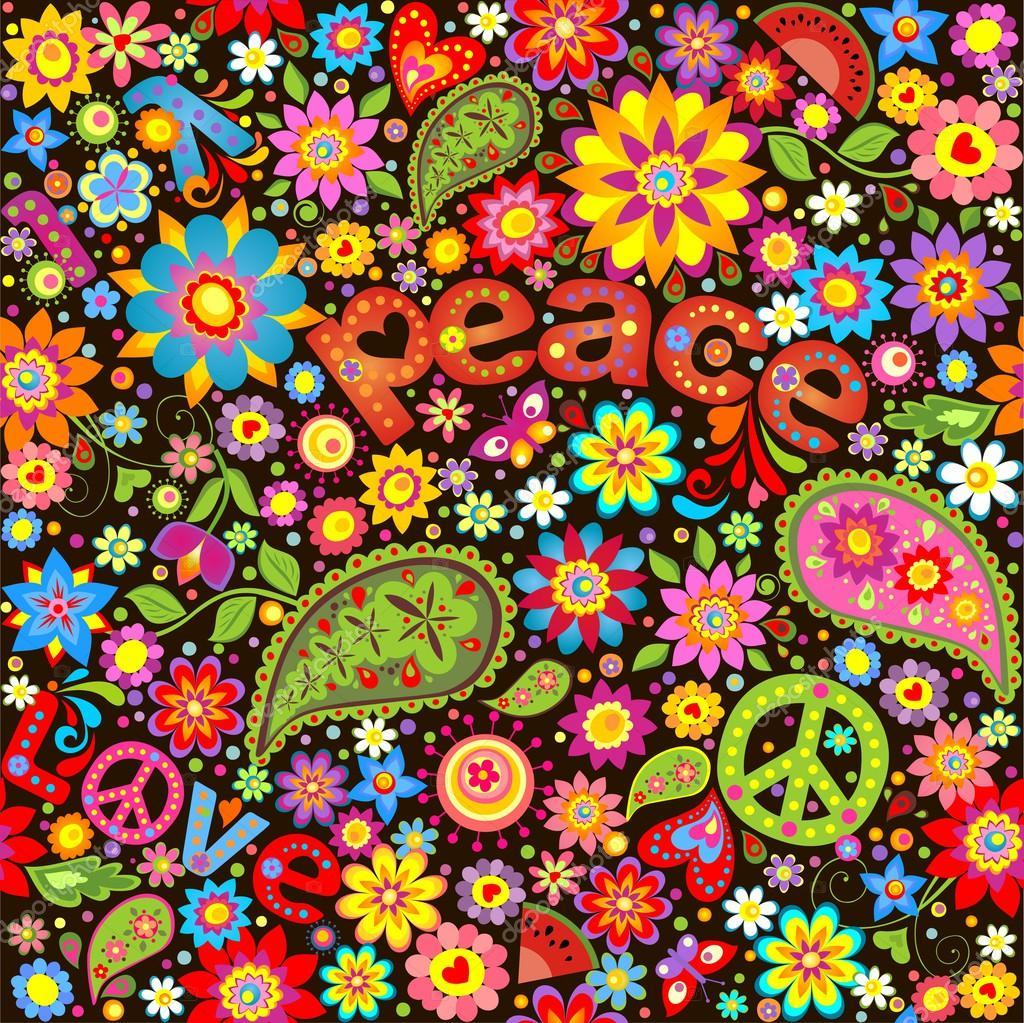Wallpaper with hippie symbolic stock vector - Mural de fotos ...