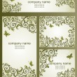 Vintage business cards with floral olive design — Stock Vector #60995167