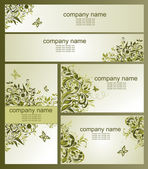 Business cards with olive floral design — Stock Vector