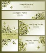 Business cards with olive floral design — Stockvektor