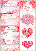 Set of horizontal banner for Valentines day — Stock Vector