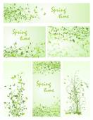 Beautiful floral backgrounds for spring design — Stock Vector