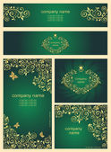 Ornate gold vintage templates for business cards — Stock Vector