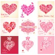 Greeting cards with hearts — Stock Vector #62191217