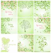 Green spring decorative floral cards — Stock Vector