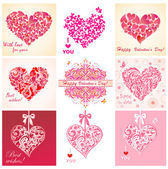 Greeting cards with hearts — Stock Vector
