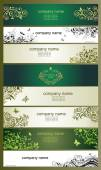 Horizontal banners with vintage floral design — Stock Vector