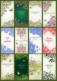 Vertical vintage floral banners — Stock Vector