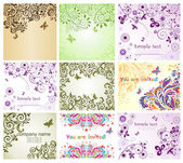 Vintage floral greeting cards — Vetorial Stock