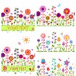 Funny floral borders with abstract flowers — Stock Vector #64242249