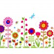 Spring seamless border with funny abstract flowers — Stock Vector #64242501