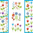Wallpapers and borders with funny spring flowers — Stock Vector #64242663
