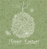Beautiful easter card with lacy hanging egg — Stockvector