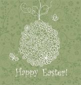 Beautiful easter card with lacy hanging egg — Wektor stockowy