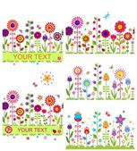Funny floral borders with abstract flowers — Vettoriale Stock