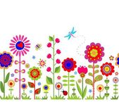 Spring seamless border with funny abstract flowers — Stock Vector
