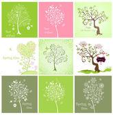 Spring decorative trees — Stock Vector