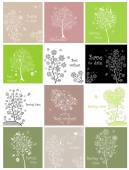 Spring cards with decorative lecy tree — Stock Vector