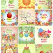 Collection of easter greeting cards with colorful flowers and eggs — Stock Vector #69427451