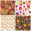 Colorful wallpapers with funny absatrct flowers and paisley — Stock Vector #74384957