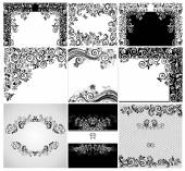 Vintage black and whites floral cards — Stock Vector