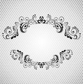 Vintage frame with lacy background (black and white) — Stock Vector