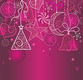 Weihnachten Wallpaper mit hängenden Dekoration — Stockvektor