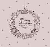 Decorative christmas vintage wreath — Stock Vector