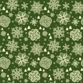 Green winter wallpaper with golden snowflakes — Stock Vector