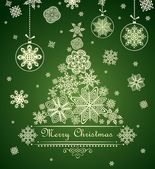 Ornamentado xmas green card — Vetor de Stock