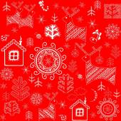 Red wallpaper with winter print — Stock Vector