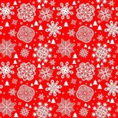 Winter red background with paper snowflakes and firs — Stock Vector