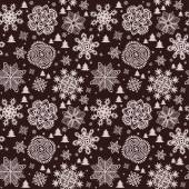 Winter vintage paper wallpaper with snowflakes and firs — Stock Vector
