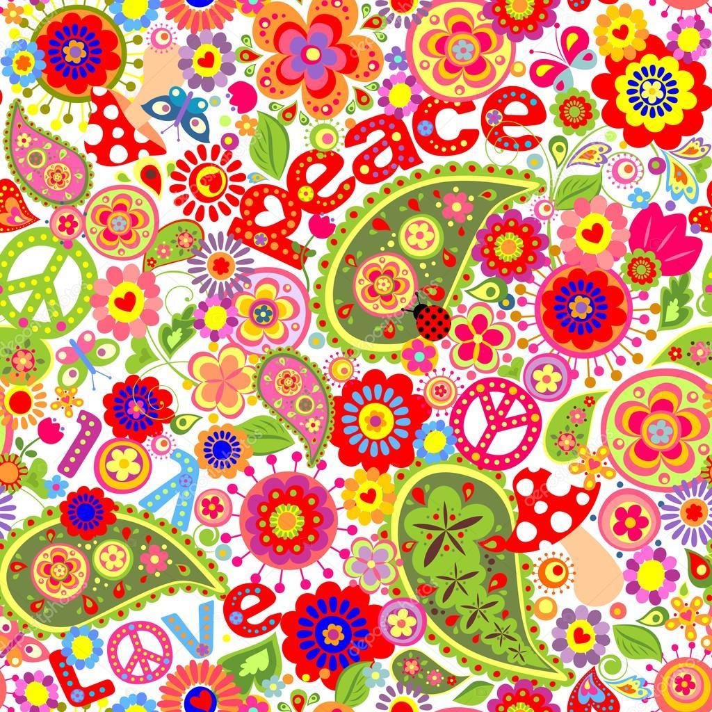 Hippie kindisch bunte tapete mit pilzen und mohn for Bunte tapete