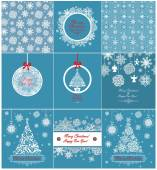 Collection of blue xmas greetings with paper snowflakes — Stock Vector