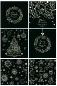 Collectie van decoratieve kerstkaarten en achtergronden — Stockvector