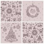 Collection of sweet decorative christmas backgrounds — Stock Vector