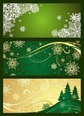 Xmas horizontal green banner — Stock Vector