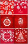 Xmas red greetings with snowflakes — Stock Vector