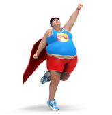 Obese superhero — Stock Photo
