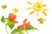 Basil, tomatoes and pasta — Stock Photo