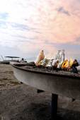 Fish barbecue on the beach — Stock Photo