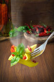 Pasta with basil and red pepper — Stock Photo