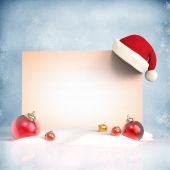 Christmas decorations with placard — Stock Photo