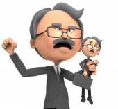 3d businessman angry — Stock Photo
